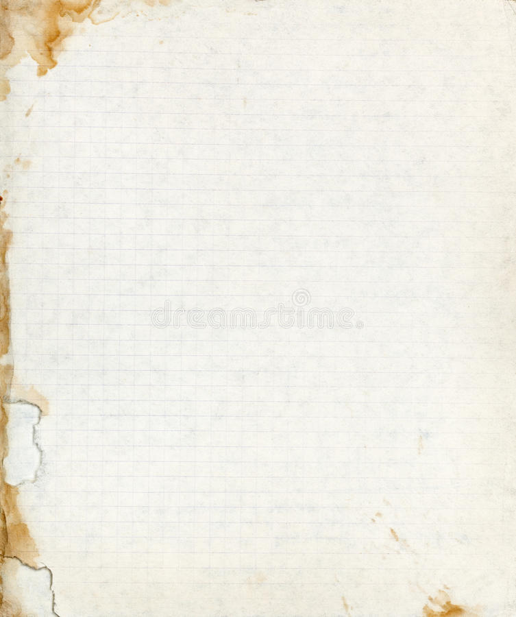 Выровнянный лист бумаги школы с сорванной запятнанной границей стоковая фотография rf