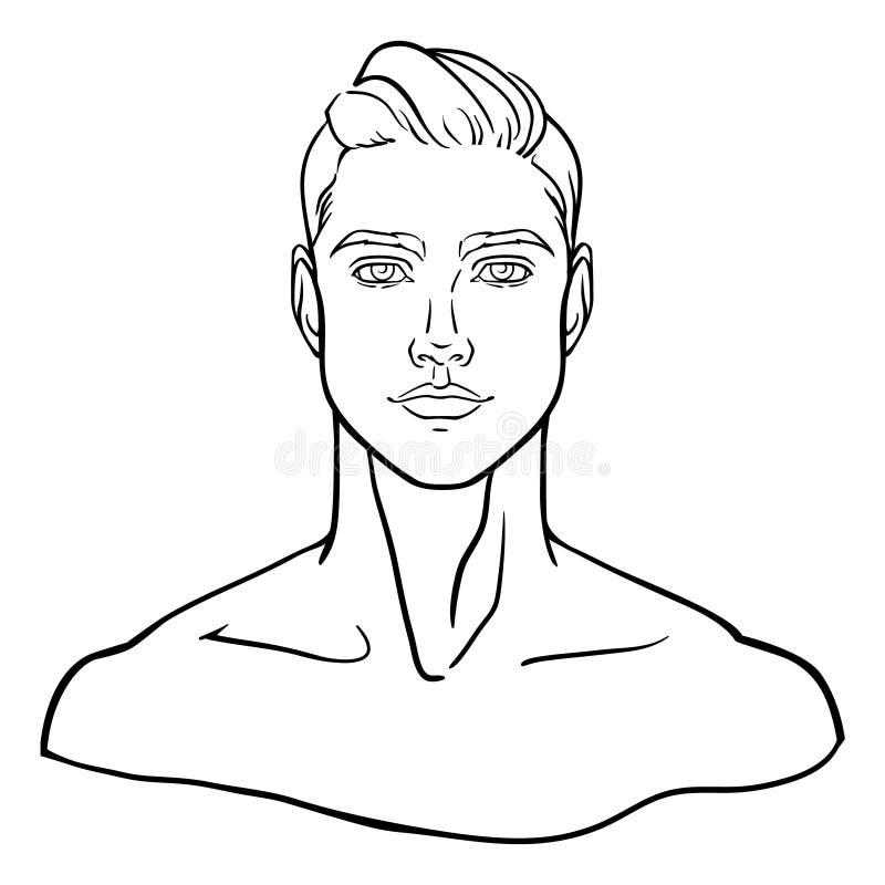 Выровнянный, нарисованный вручную портрет стороны молодого человека для социального профиля также вектор иллюстрации притяжки cor иллюстрация вектора