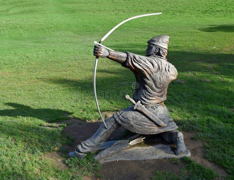 Высекаенная деревянная статуя сражения Hastings лучника стоковое изображение