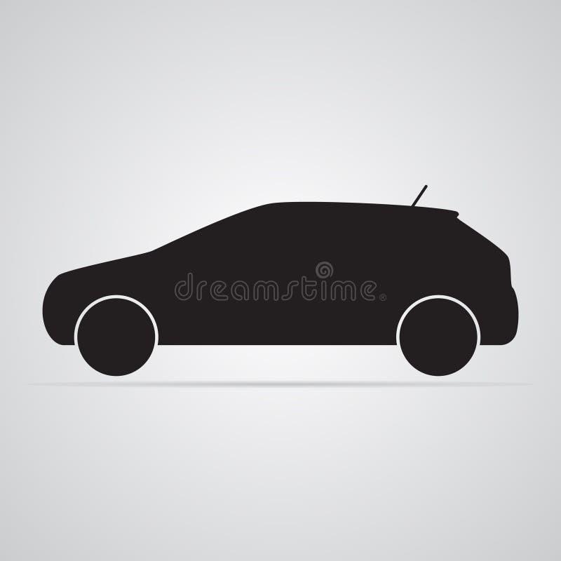 Высекаенный значок силуэта плоский, простой дизайн вектора Автомобиль в профиле иллюстрация вектора