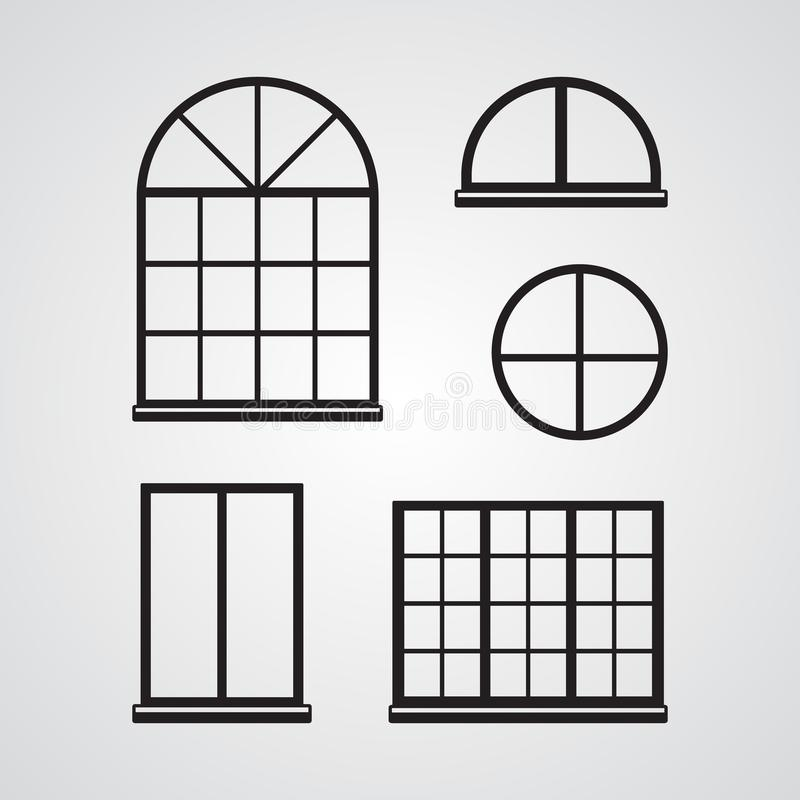 Высекаенный значок силуэта плоский, простой дизайн вектора Комплект classi иллюстрация вектора