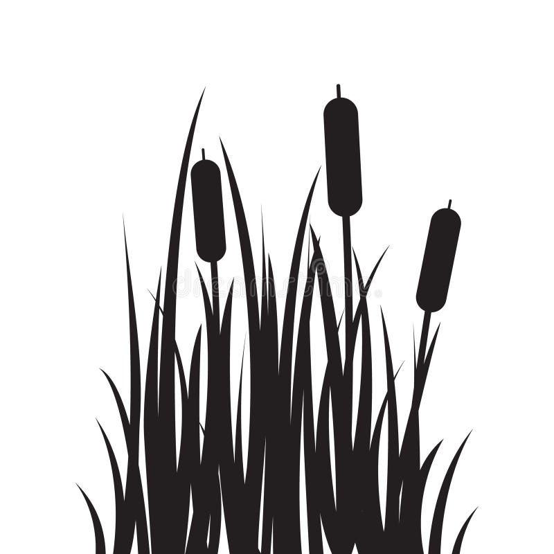 Высекаенный значок силуэта плоский, простой дизайн вектора Трава шаржа с bulrush стоковые фото