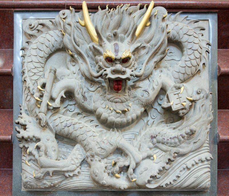 высекать китайский камень дракона стоковая фотография rf