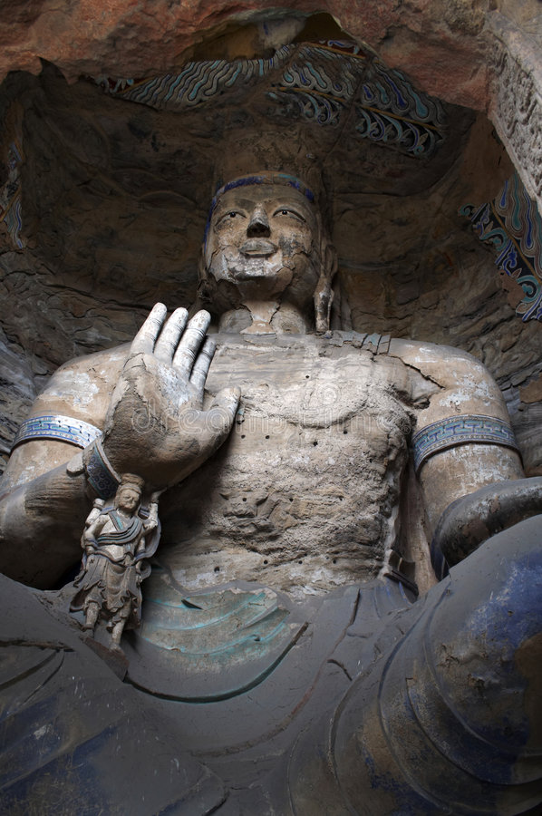 высекать yungang shanxi grottoes фарфора каменное стоковые фото