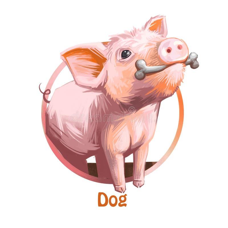 Выследите китайский знак зодиака любимчика держа искусство собачьего любимчика косточки походя цифровое Поросенок подобный к щенк иллюстрация штока