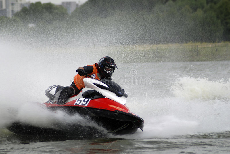 высокая вода скорости jetski4 стоковые изображения rf