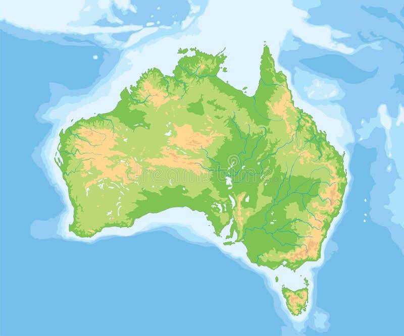 Высокая детальная карта Австралии физическая бесплатная иллюстрация