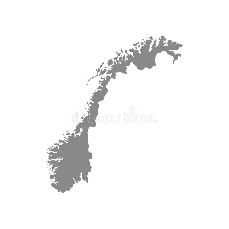 Высокая детальная карта вектора - Норвегия иллюстрация штока