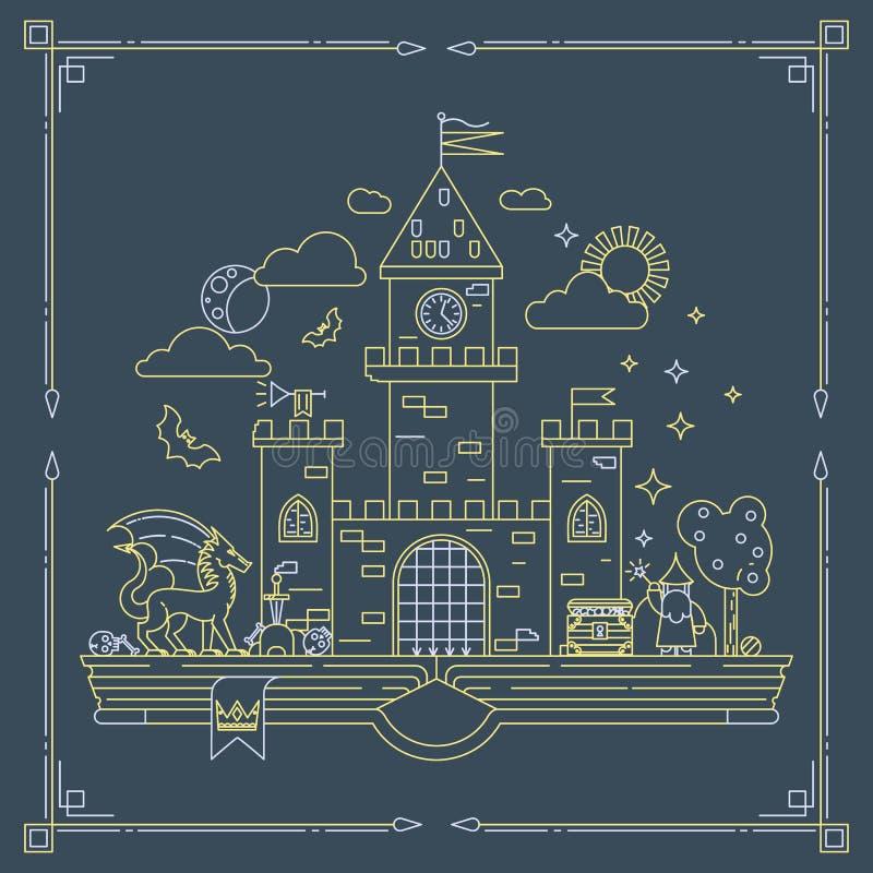 Высокая детальная иллюстрация вектора волшебного королевства Современная тонкая линия дизайн Волшебник, дракон и замок на страниц бесплатная иллюстрация