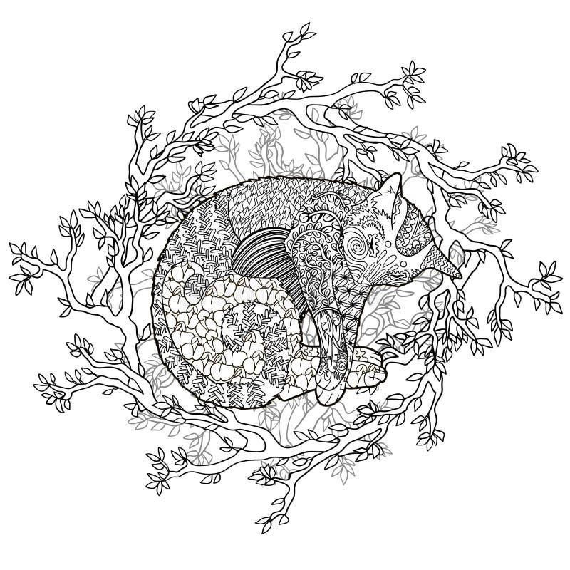 Высокая иллюстрация детали кота спать бесплатная иллюстрация