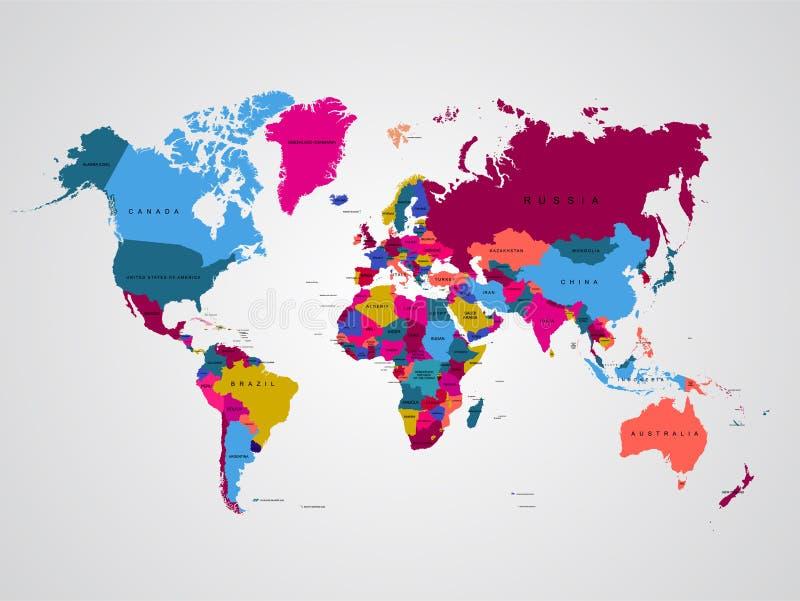 Высокая карта мира детали иллюстрация вектора шаблона для образования информации, новостей, политичной, экономической, социальной иллюстрация вектора