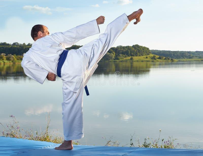 Высокая нога пинком бьет спортсмена с голубым поясом стоковые изображения