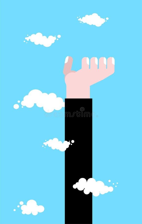 Высокая рука Повышение до рая Рука дела в облаках Шаблон концепции Pprotege бесплатная иллюстрация