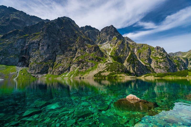 Высокие горы Tatra и живописное ясное озеро стоковые изображения rf