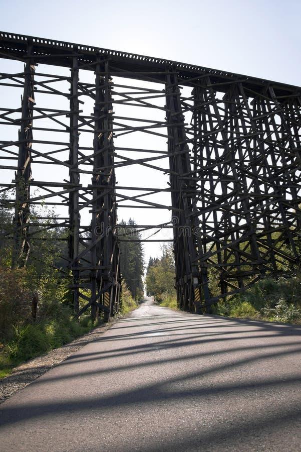 Высокий железнодорожный мост сделанный деревянных typesetting журналов стоковые фото