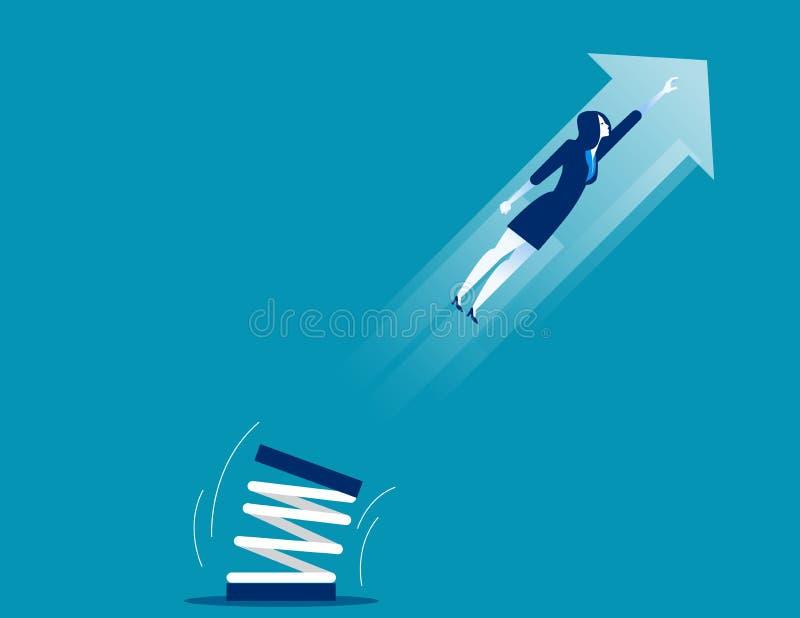 Высокий прыжок коммерсантки с трамплином Vecto дела концепции иллюстрация штока