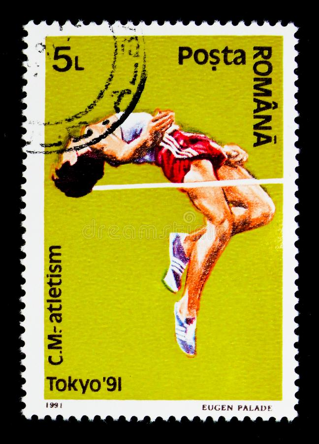 Высокий прыжок, чемпионаты легкой атлетики мира, serie токио, cir стоковые фотографии rf