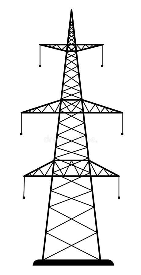 Высоковольтная башня передачи линии электропередач стоковое фото rf