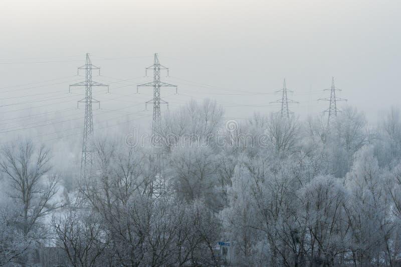 Высоковольтные башни вдоль покрытых снег деревьев во время заморозка с туманом стоковые фотографии rf