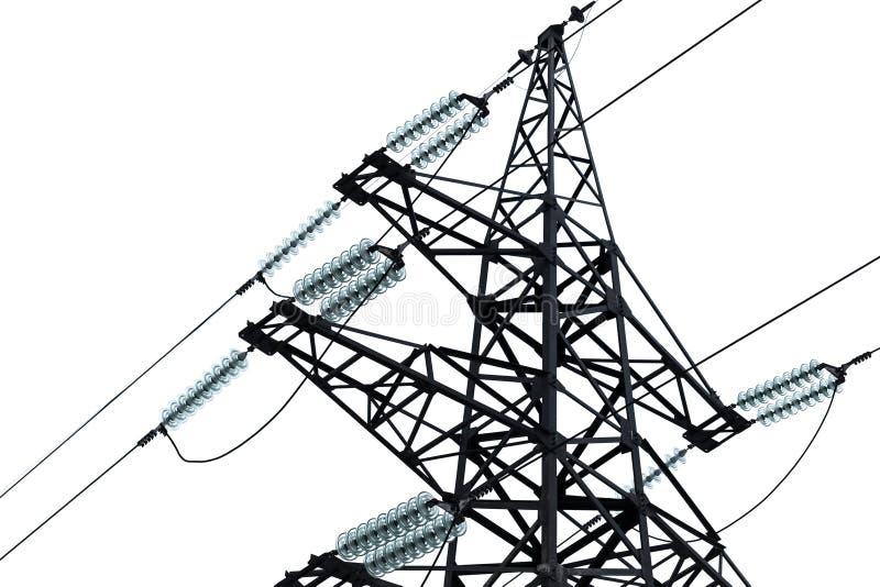 Высоковольтные линии электропередач и большая опора стоковое фото rf