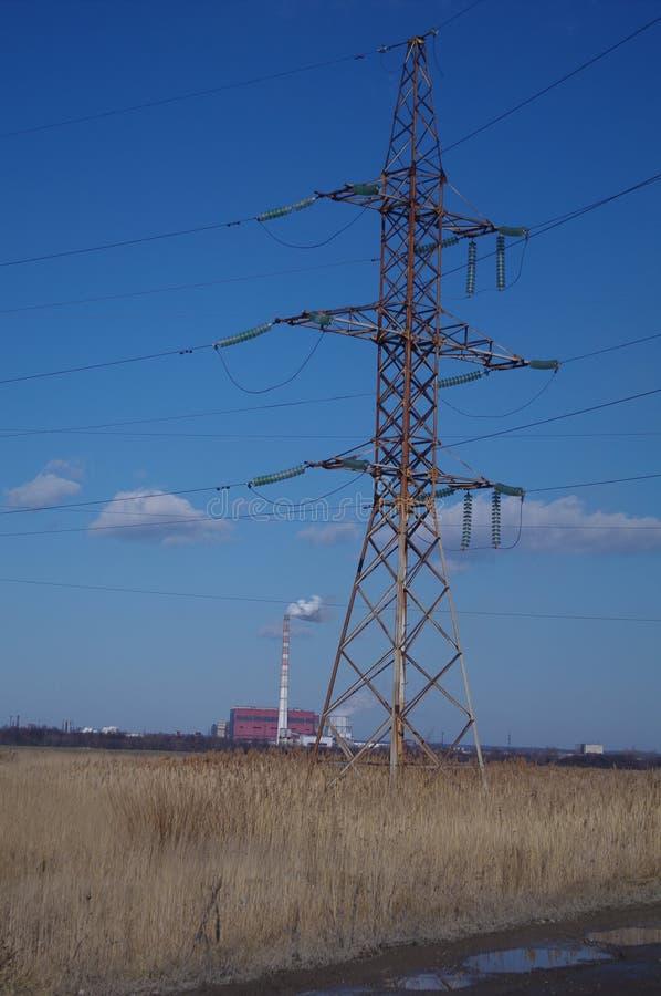 Высоковольтная линия электропередач стоковые фотографии rf