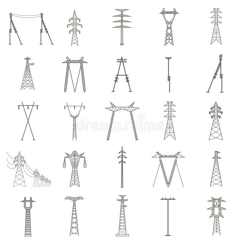 Высоковольтная электрическая линия опора Соответствующее значка установленное для создаваться иллюстрация вектора