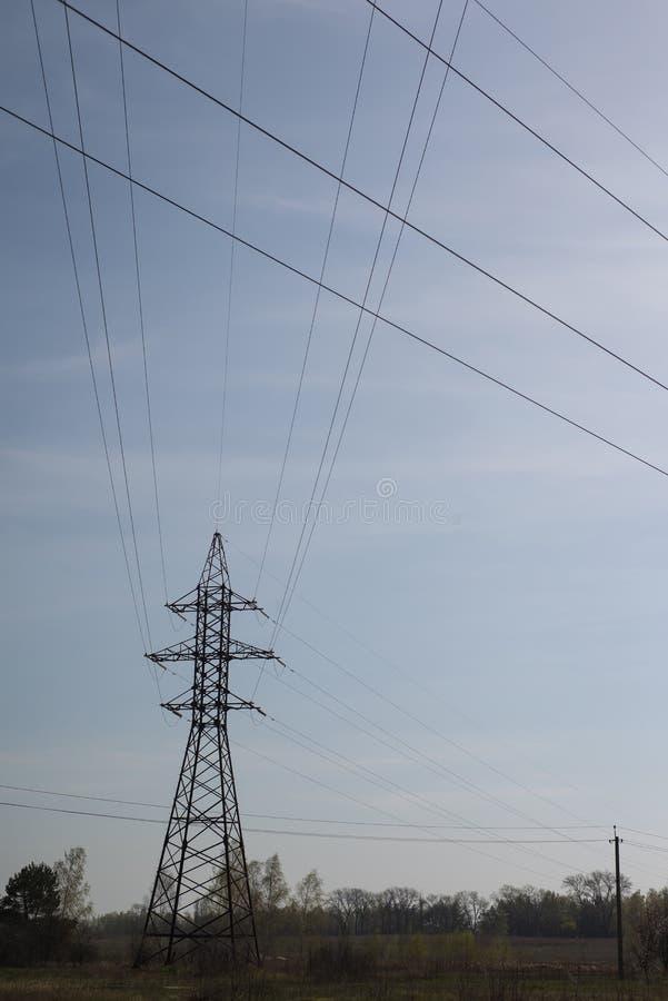 Высоковольтная электрическая опора стоковая фотография rf