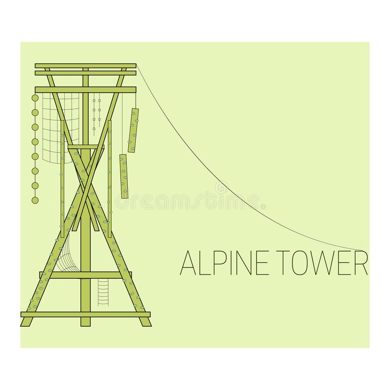 высокогорная башня иллюстрация вектора