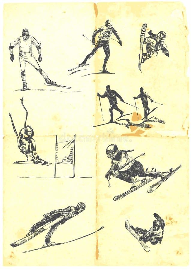 высокогорное катание на лыжах собрания иллюстрация вектора