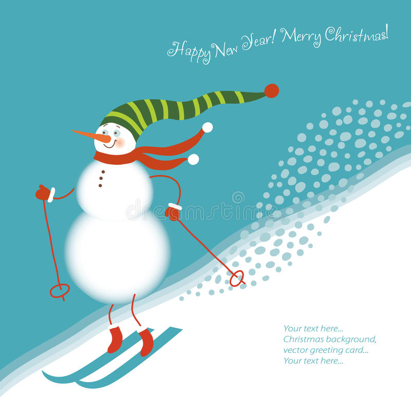 высокогорные смешные идут снеговик лыж иллюстрация вектора