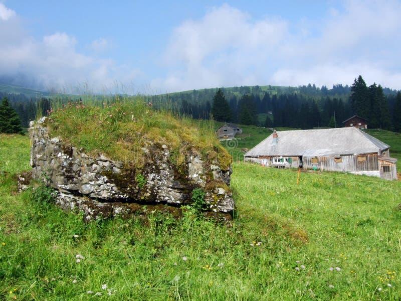 Высокогорные фермы и конюшни поголовья на наклонах горной цепи Churfirsten в регионе Toggenburg стоковые фото