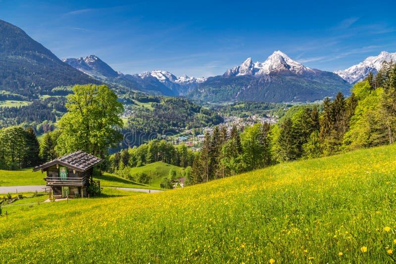 Высокогорный пейзаж с традиционным шале горы летом стоковые изображения rf