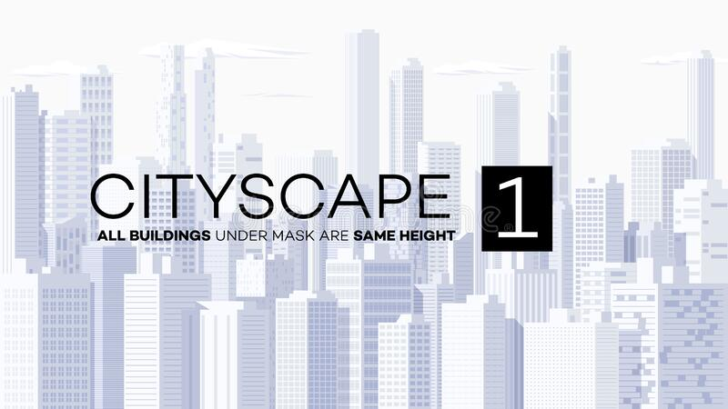 Высокодетальный панорамный векторный cityscape иллюстрация штока