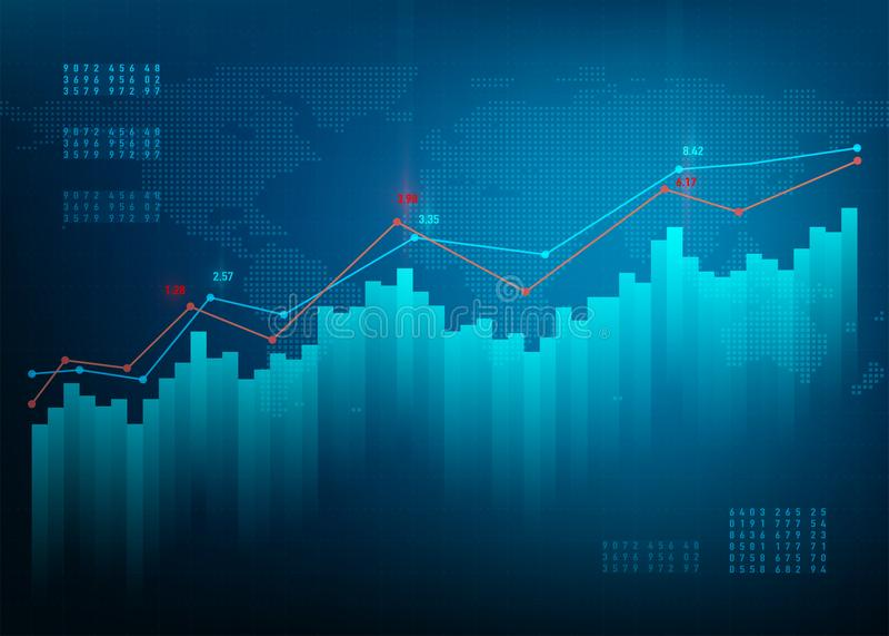 высокое качество финансов диаграммы 3d представляет Рынок диаграммы запаса Предпосылка вектора дела роста голубая Скрепленный бан иллюстрация вектора