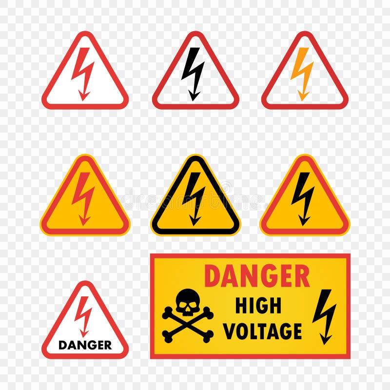 Высокое напряжение опасности значка вектора установленное на изолированной прозрачной предпосылке Предупредительный знак с картин иллюстрация вектора