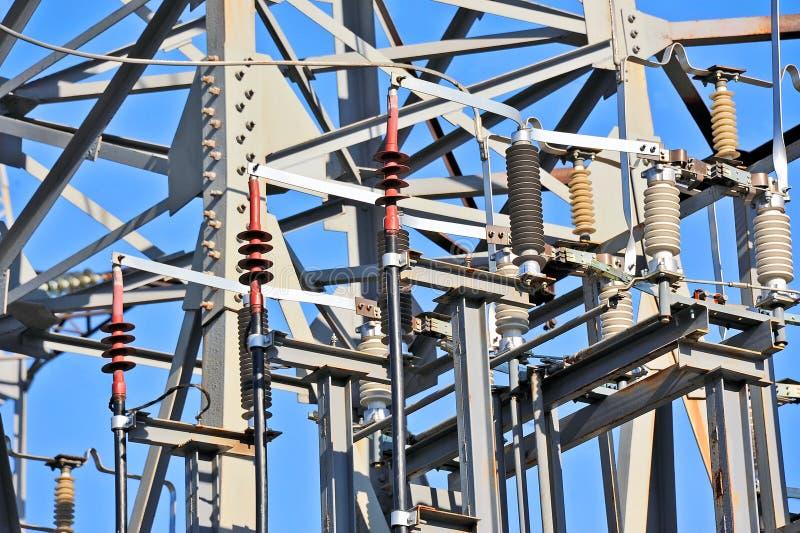 Высокое напряжение подстанции AC стоковая фотография rf
