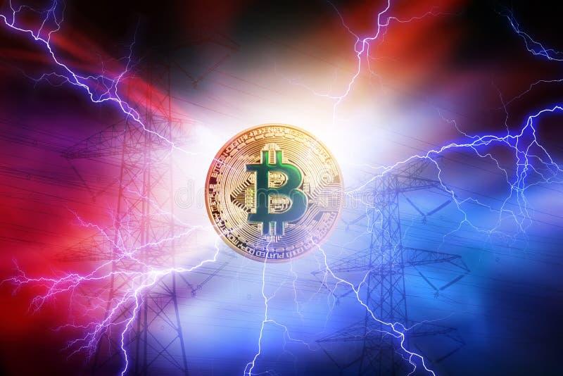 Высокое потребление электроэнергии секретной монетки Bitcoin Линия высокого напряжения стоковое фото rf
