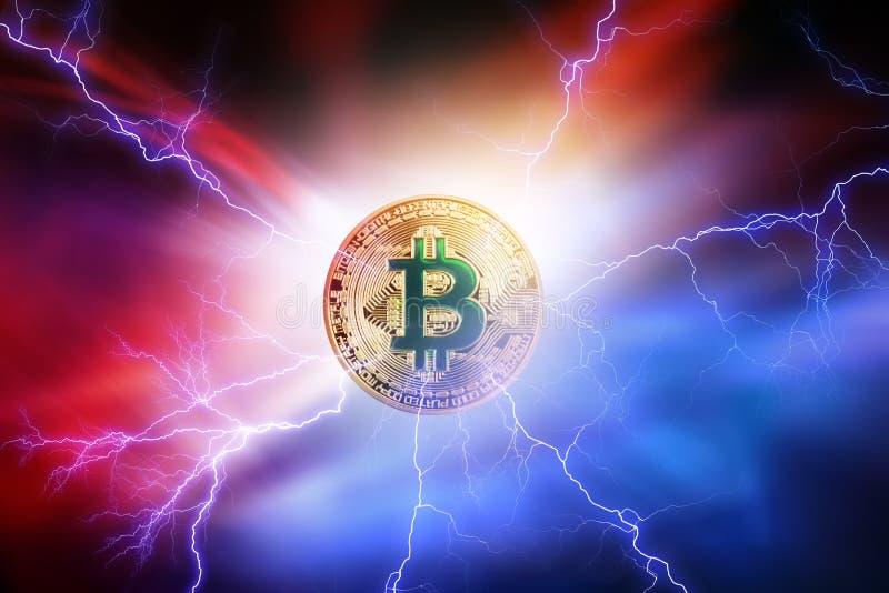 Высокое потребление электроэнергии секретной монетки Bitcoin стоковое изображение rf