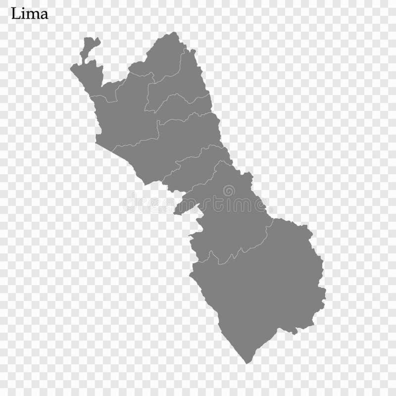 Высококачественная карта провинция Перу иллюстрация вектора