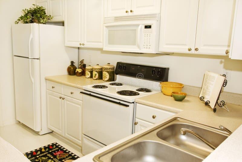 Высококачественная пересматриванная кухня квартиры стоковое изображение
