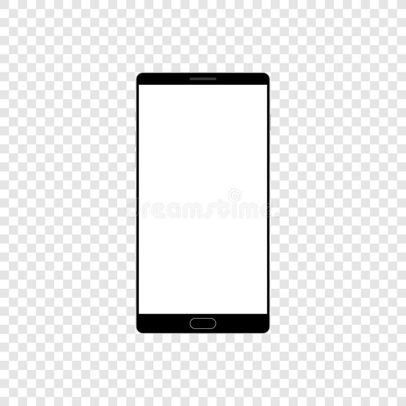 Высококачественная реалистическая умная насмешка телефона вверх с пустым экраном Черный детальный мобильный телефон с кнопками ка иллюстрация штока