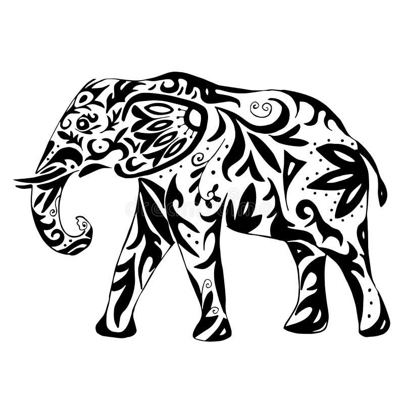 Высококачественный индийский слон нарисованный с орнаментом для красить или бесплатная иллюстрация