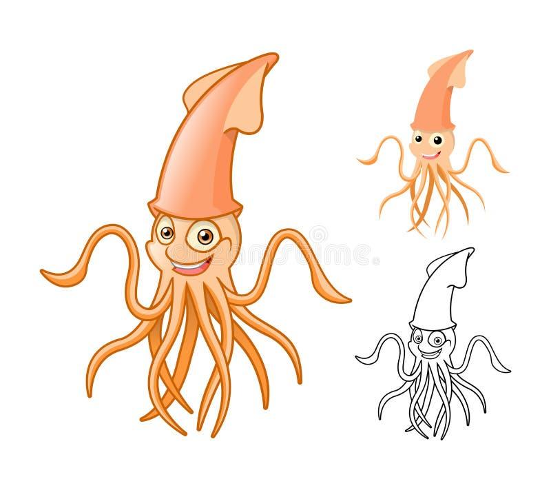 Высококачественный персонаж из мультфильма кальмара включает плоские дизайн и линию версию искусства бесплатная иллюстрация