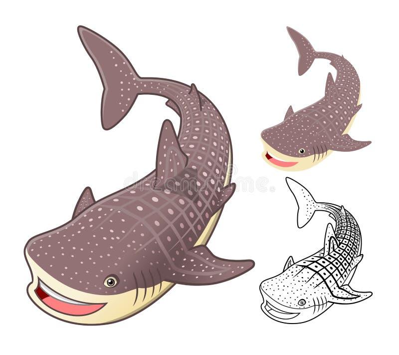 Высококачественный персонаж из мультфильма китовой акулы включает плоские дизайн и линию версию искусства бесплатная иллюстрация