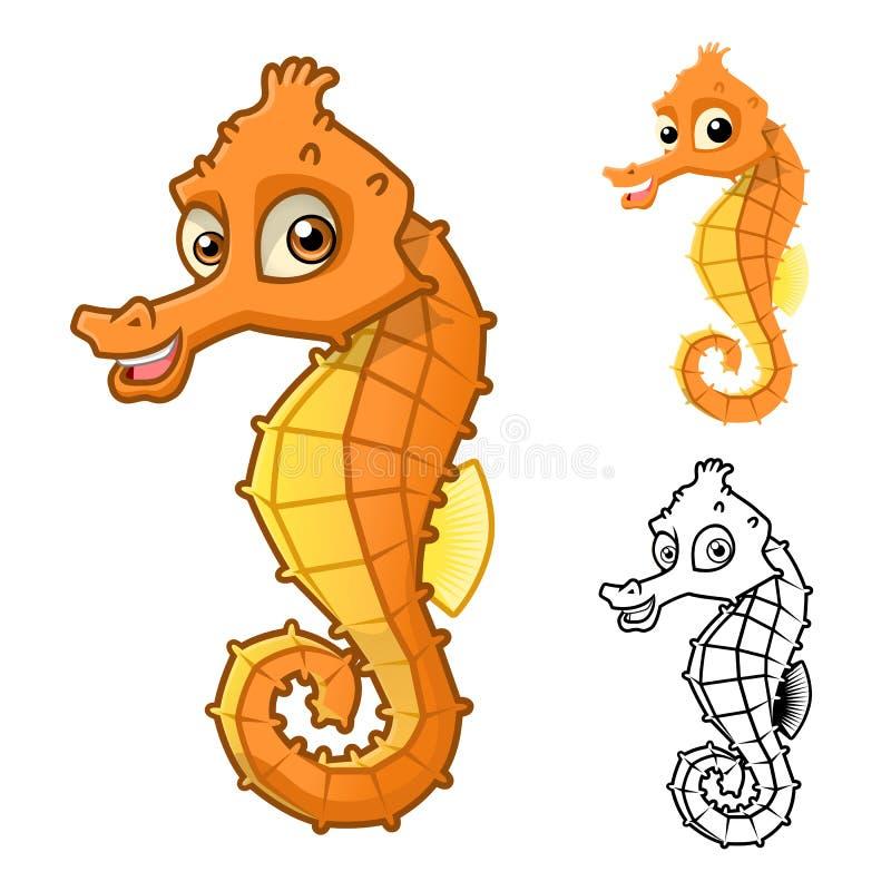 Высококачественный персонаж из мультфильма лошади моря включает плоские дизайн и линию версию искусства бесплатная иллюстрация