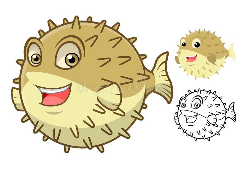 Высококачественный персонаж из мультфильма рыб скалозуба включает плоские дизайн и линию версию искусства иллюстрация штока