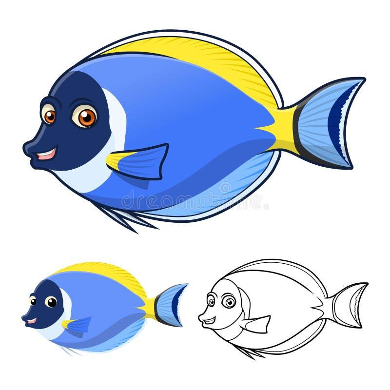 Высококачественный Powderblue персонаж из мультфильма Surgeonfish включает плоские дизайн и линию версию искусства иллюстрация вектора