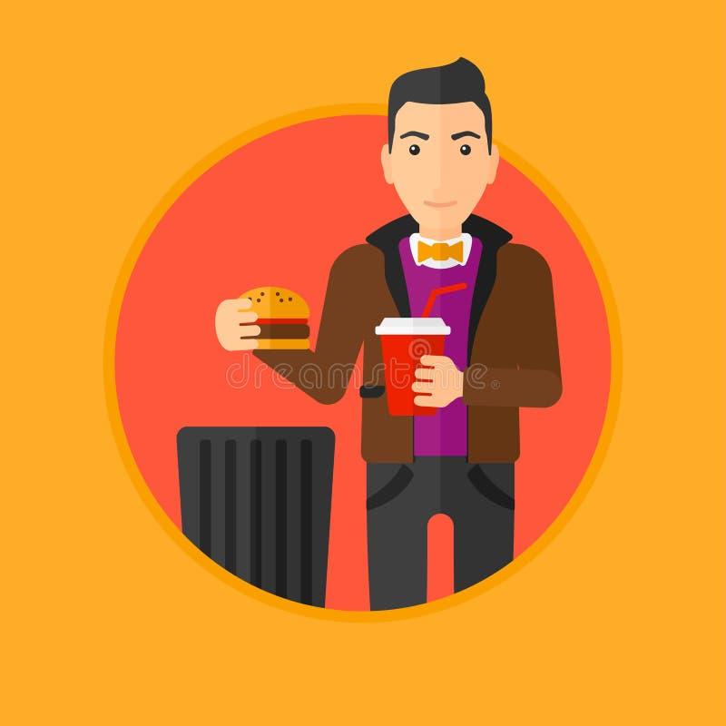 Высококалорийная вредная пища человека бросая бесплатная иллюстрация