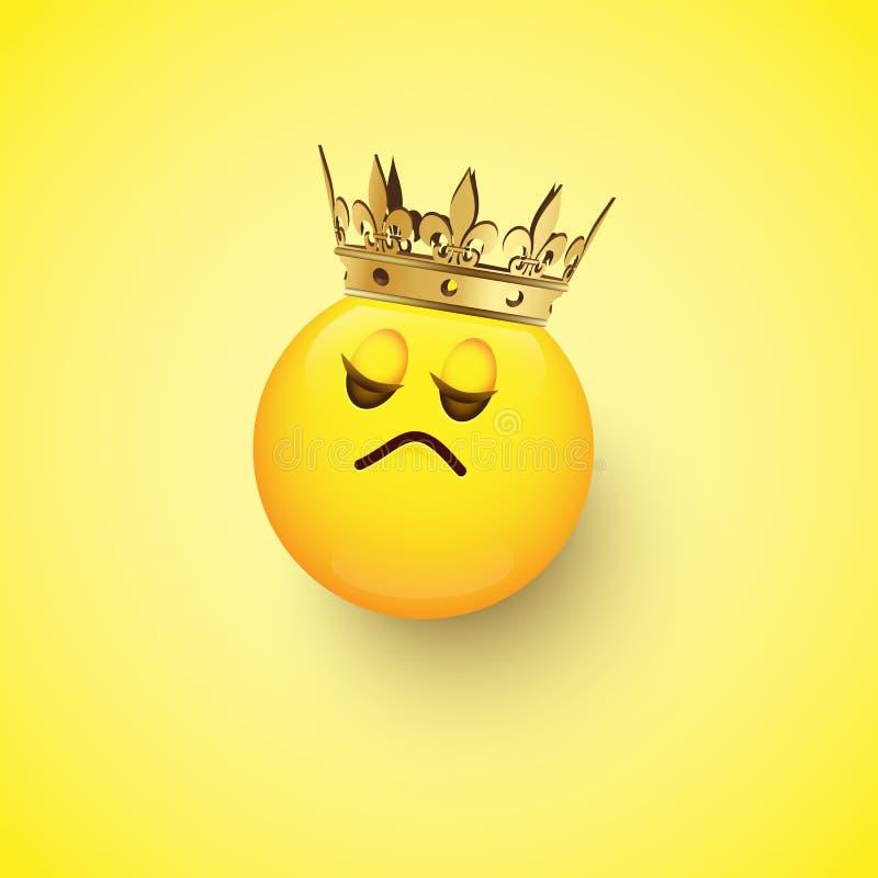 Высокомерное emoji с кроной изолированной на желтой предпосылке конструкция легкая редактирует элемент для того чтобы vector иллюстрация штока