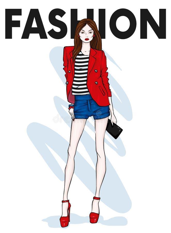 Высокорослая худенькая девушка в шортах, куртке и высоко-накрененных ботинках legged длинняя модель Мода, стиль, одежда и аксессу бесплатная иллюстрация